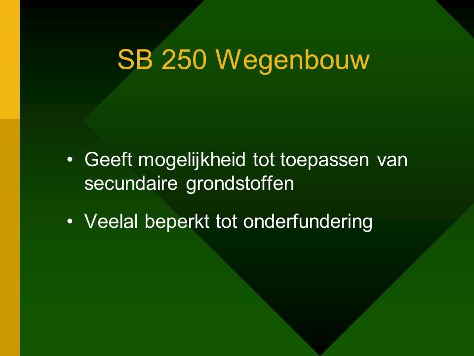 SB 250 Wegenbouw •Geeft mogelijkheid tot toepassen van secundaire grondstoffen •Veelal beperkt tot onderfundering