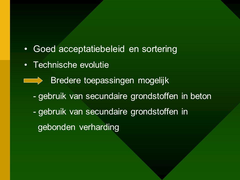 •Goed acceptatiebeleid en sortering •Technische evolutie Bredere toepassingen mogelijk - gebruik van secundaire grondstoffen in beton - gebruik van secundaire grondstoffen in gebonden verharding