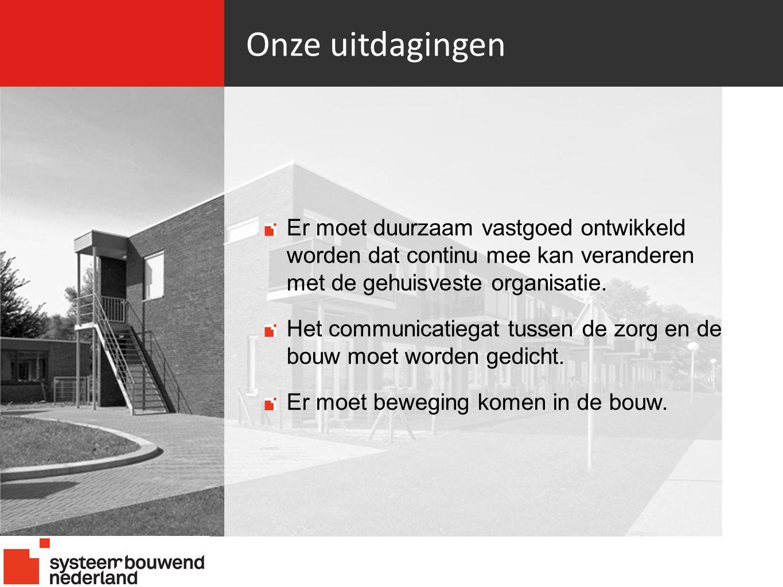 Onze uitdagingen Er moet duurzaam vastgoed ontwikkeld worden dat continu mee kan veranderen met de gehuisveste organisatie.