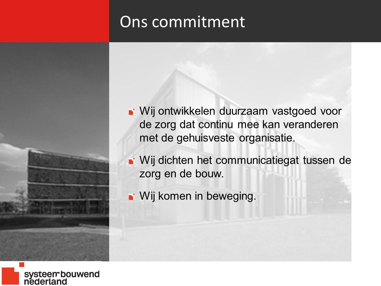 Ons commitment Wij ontwikkelen duurzaam vastgoed voor de zorg dat continu mee kan veranderen met de gehuisveste organisatie.
