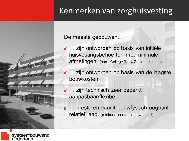 Kenmerken van zorghuisvesting De meeste gebouwen… … zijn ontworpen op basis van initiële huisvestingsbehoeften met minimale afmetingen.