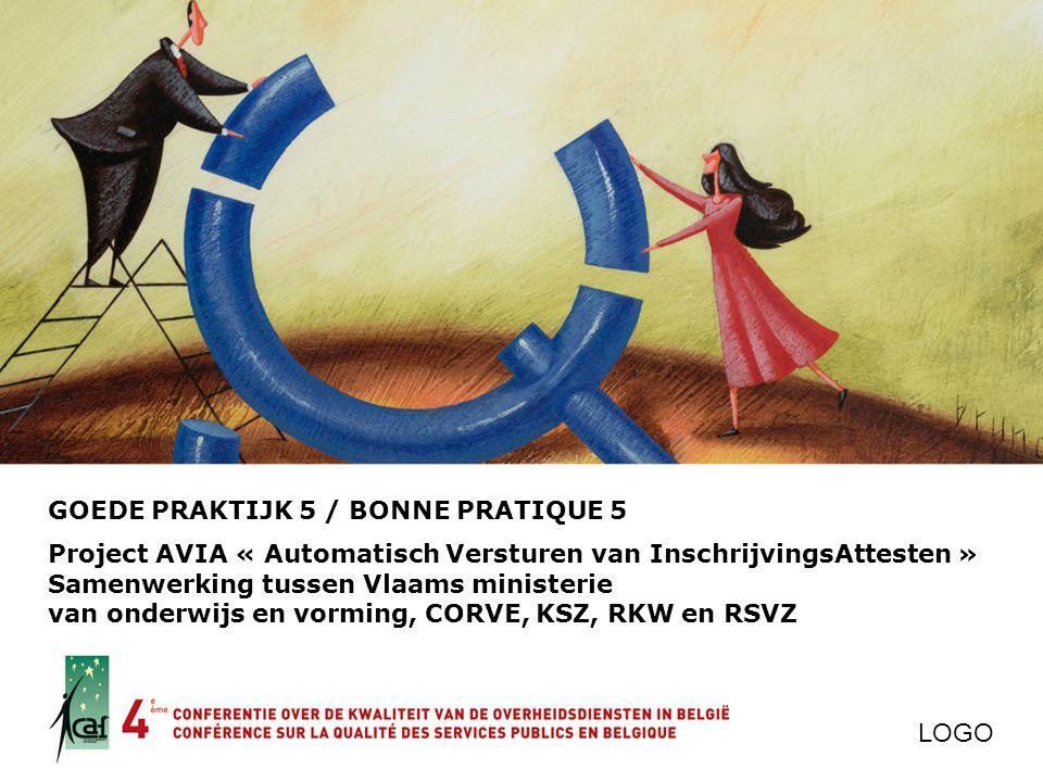 GOEDE PRAKTIJK 5 / BONNE PRATIQUE 5 Project AVIA « Automatisch Versturen van InschrijvingsAttesten » Samenwerking tussen Vlaams ministerie van onderwi
