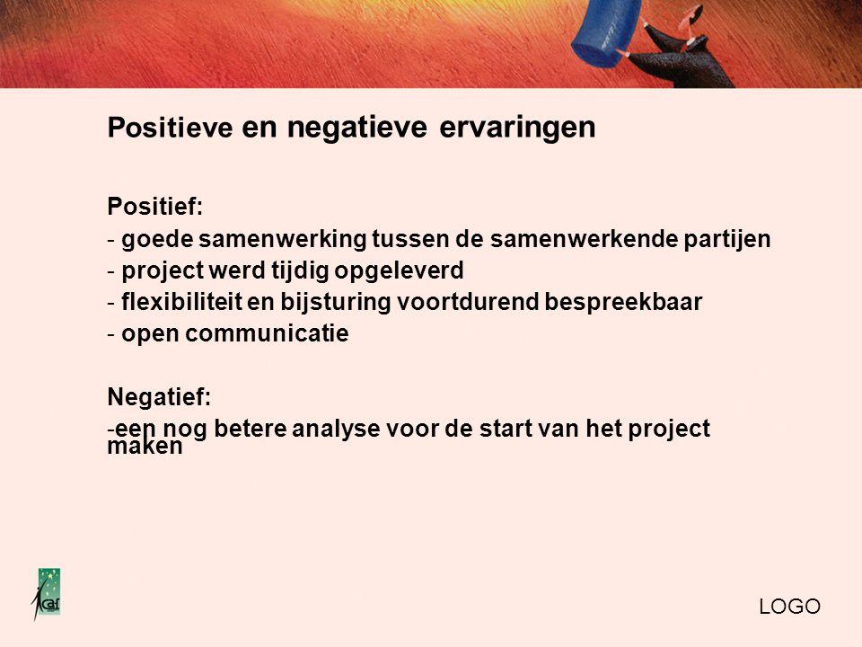 Positieve en negatieve ervaringen Positief: - goede samenwerking tussen de samenwerkende partijen - project werd tijdig opgeleverd - flexibiliteit en bijsturing voortdurend bespreekbaar - open communicatie Negatief: -een nog betere analyse voor de start van het project maken LOGO