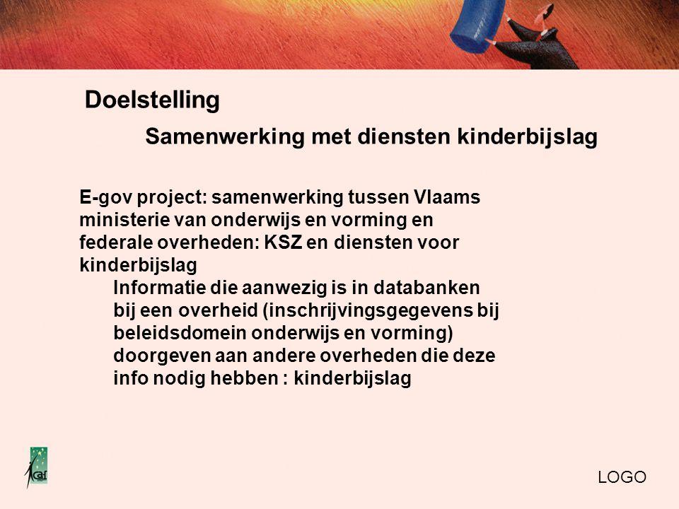 Doelstelling LOGO E-gov project: samenwerking tussen Vlaams ministerie van onderwijs en vorming en federale overheden: KSZ en diensten voor kinderbijs