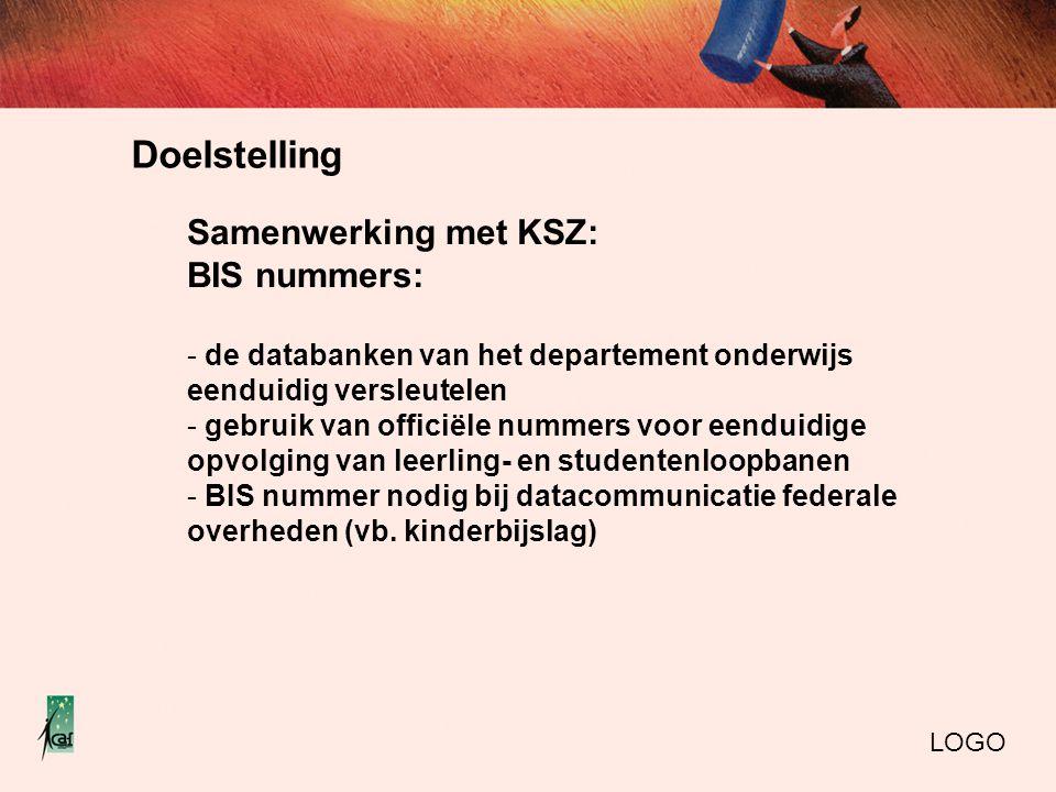 Doelstelling LOGO Samenwerking met KSZ: BIS nummers: - de databanken van het departement onderwijs eenduidig versleutelen - gebruik van officiële nummers voor eenduidige opvolging van leerling- en studentenloopbanen - BIS nummer nodig bij datacommunicatie federale overheden (vb.