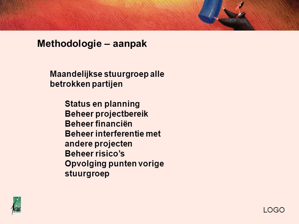 Methodologie – aanpak LOGO Maandelijkse stuurgroep alle betrokken partijen Status en planning Beheer projectbereik Beheer financiën Beheer interferent
