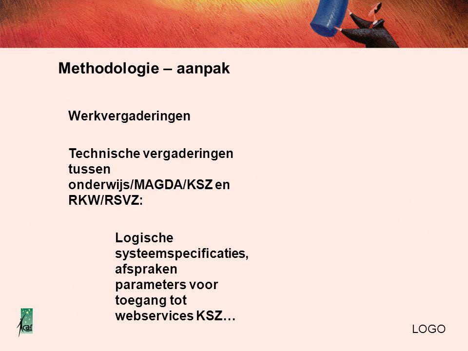Methodologie – aanpak LOGO Werkvergaderingen Technische vergaderingen tussen onderwijs/MAGDA/KSZ en RKW/RSVZ: Logische systeemspecificaties, afspraken parameters voor toegang tot webservices KSZ…