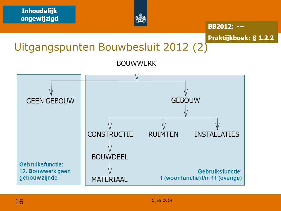 16 1 juli 2014 Uitgangspunten Bouwbesluit 2012 (2) Gebruiksfunctie: 12.
