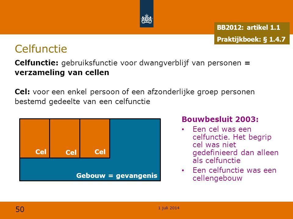 50 1 juli 2014 Gebouw = gevangenis Celfunctie Celfunctie: gebruiksfunctie voor dwangverblijf van personen = verzameling van cellen Cel: voor een enkel persoon of een afzonderlijke groep personen bestemd gedeelte van een celfunctie BB2012: artikel 1.1 Praktijkboek: § 1.4.7 Cel Bouwbesluit 2003: • Een cel was een celfunctie.