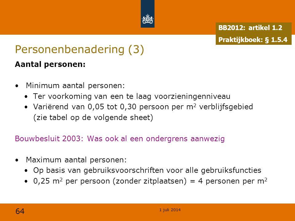 64 1 juli 2014 Personenbenadering (3) Aantal personen: •Minimum aantal personen: •Ter voorkoming van een te laag voorzieningenniveau •Variërend van 0,05 tot 0,30 persoon per m 2 verblijfsgebied •(zie tabel op de volgende sheet) Bouwbesluit 2003: Was ook al een ondergrens aanwezig •Maximum aantal personen: •Op basis van gebruiksvoorschriften voor alle gebruiksfuncties •0,25 m 2 per persoon (zonder zitplaatsen) = 4 personen per m 2 BB2012: artikel 1.2 Praktijkboek: § 1.5.4