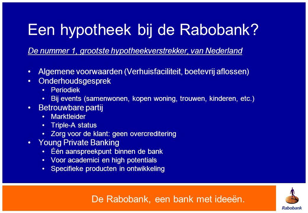 Een hypotheek bij de Rabobank? De nummer 1, grootste hypotheekverstrekker, van Nederland •Algemene voorwaarden (Verhuisfaciliteit, boetevrij aflossen)