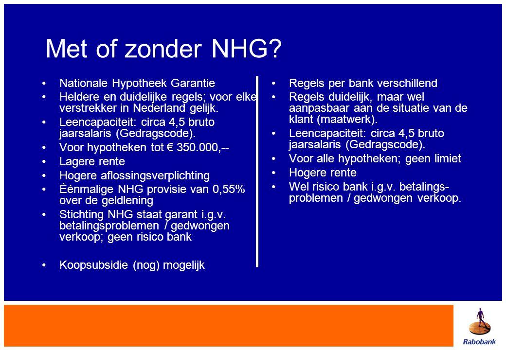 Met of zonder NHG? •Nationale Hypotheek Garantie •Heldere en duidelijke regels; voor elke verstrekker in Nederland gelijk. •Leencapaciteit: circa 4,5
