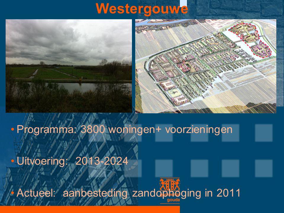 Westergouwe •Programma: 3800 woningen+ voorzieningen •Uitvoering: 2013-2024 •Actueel: aanbesteding zandophoging in 2011