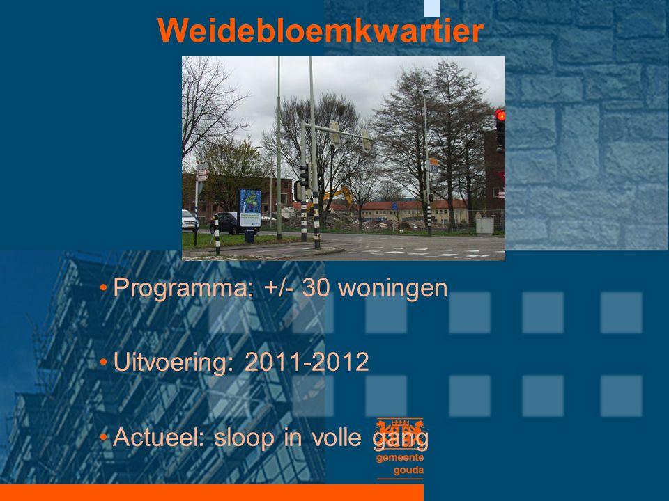 Weidebloemkwartier •Programma: +/- 30 woningen •Uitvoering: 2011-2012 •Actueel: sloop in volle gang