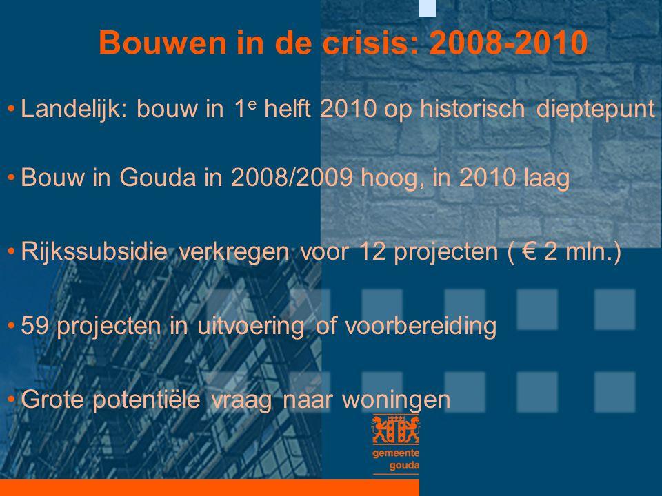 Bouwen in de crisis: 2008-2010 •Landelijk: bouw in 1 e helft 2010 op historisch dieptepunt •Bouw in Gouda in 2008/2009 hoog, in 2010 laag •Rijkssubsid