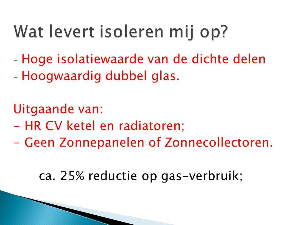 - Hoge isolatiewaarde van de dichte delen - Hoogwaardig dubbel glas. Uitgaande van: - HR CV ketel en radiatoren; - Geen Zonnepanelen of Zonnecollector