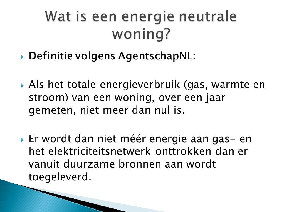  Definitie volgens AgentschapNL:  Als het totale energieverbruik (gas, warmte en stroom) van een woning, over een jaar gemeten, niet meer dan nul is