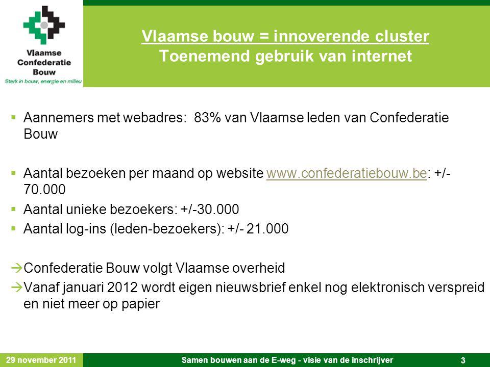 29 november 2011 Samen bouwen aan de E-weg - visie van de inschrijver 3  Aannemers met webadres: 83% van Vlaamse leden van Confederatie Bouw  Aantal bezoeken per maand op website www.confederatiebouw.be: +/- 70.000www.confederatiebouw.be  Aantal unieke bezoekers: +/-30.000  Aantal log-ins (leden-bezoekers): +/- 21.000  Confederatie Bouw volgt Vlaamse overheid  Vanaf januari 2012 wordt eigen nieuwsbrief enkel nog elektronisch verspreid en niet meer op papier Vlaamse bouw = innoverende cluster Toenemend gebruik van internet