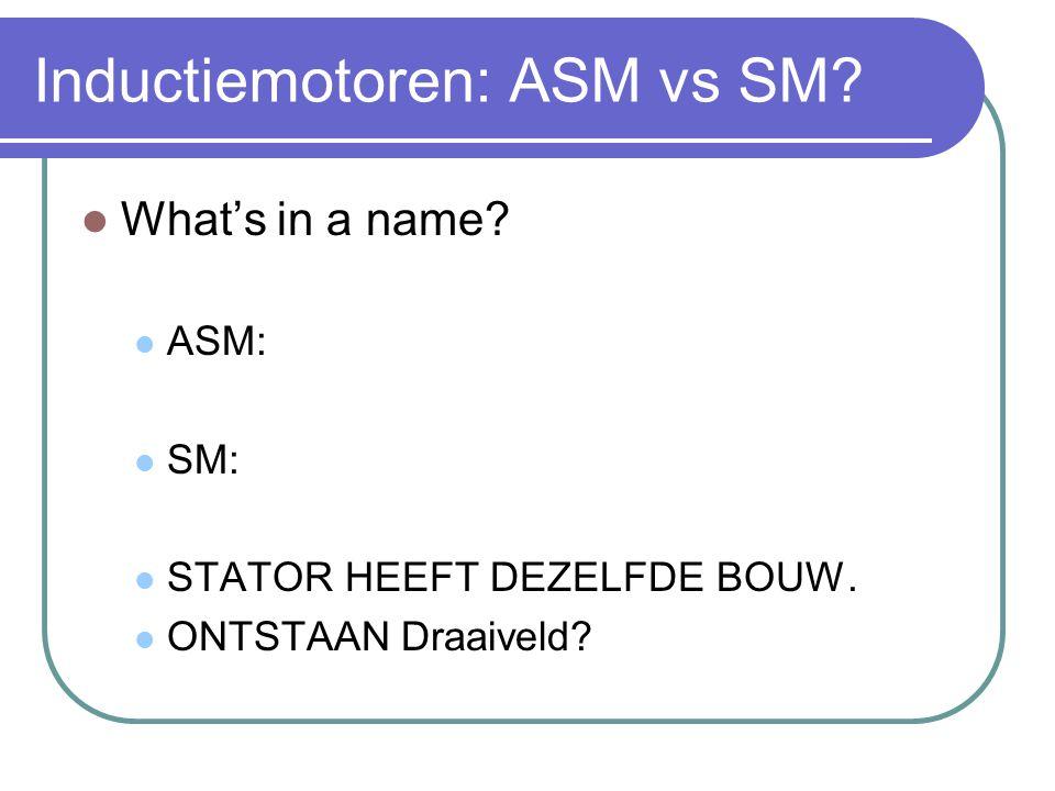 Inductiemotoren: ASM vs SM?  What's in a name?  ASM:  SM:  STATOR HEEFT DEZELFDE BOUW.  ONTSTAAN Draaiveld?