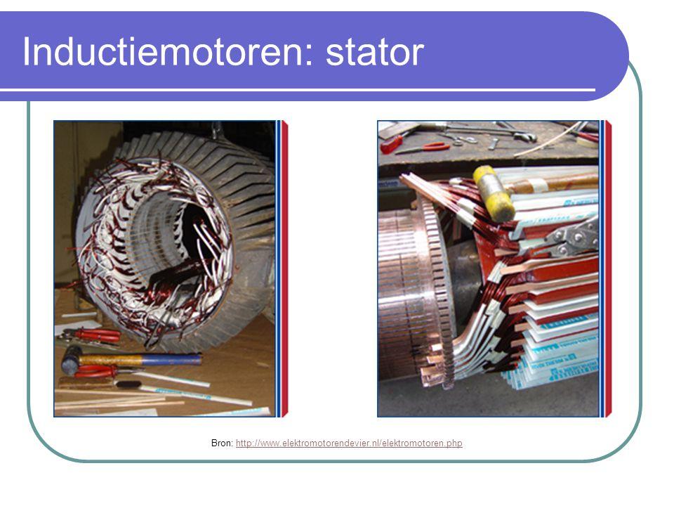 Inductiemotoren: stator Bron: http://www.elektromotorendevier.nl/elektromotoren.phphttp://www.elektromotorendevier.nl/elektromotoren.php