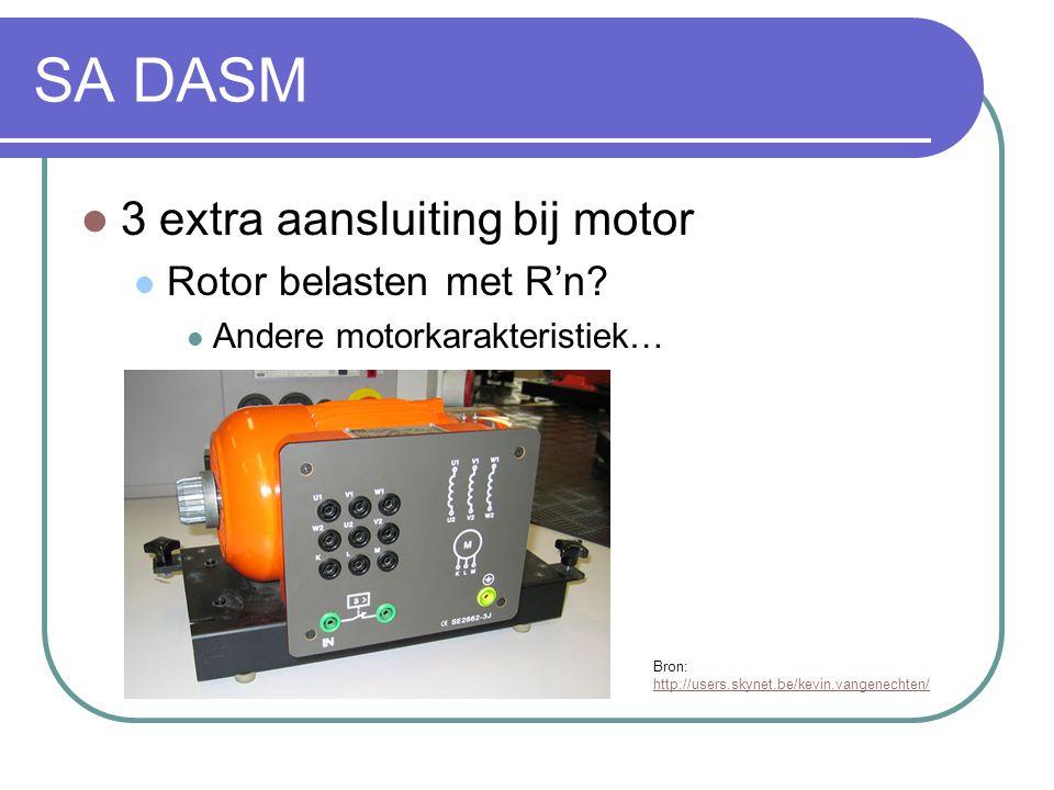 SA DASM  3 extra aansluiting bij motor  Rotor belasten met R'n?  Andere motorkarakteristiek… Bron: http://users.skynet.be/kevin.vangenechten/