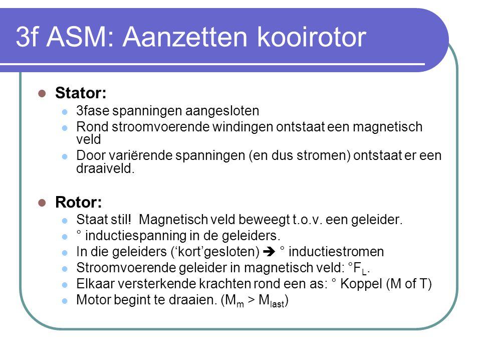 3f ASM: Aanzetten kooirotor  Stator:  3fase spanningen aangesloten  Rond stroomvoerende windingen ontstaat een magnetisch veld  Door variërende sp