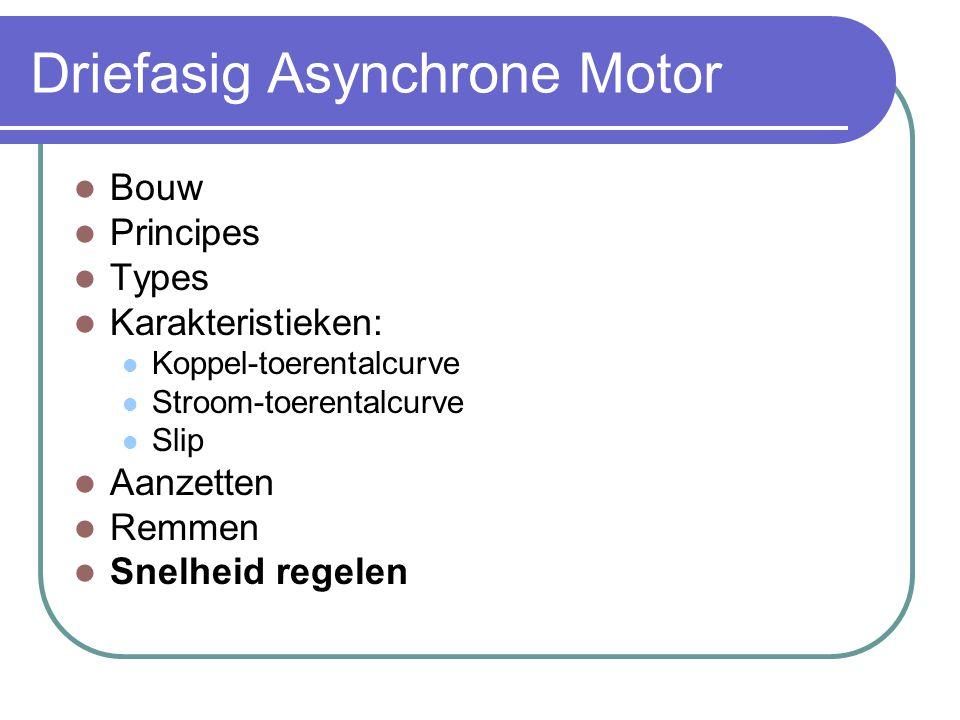 Driefasig Asynchrone Motor  Bouw  Principes  Types  Karakteristieken:  Koppel-toerentalcurve  Stroom-toerentalcurve  Slip  Aanzetten  Remmen