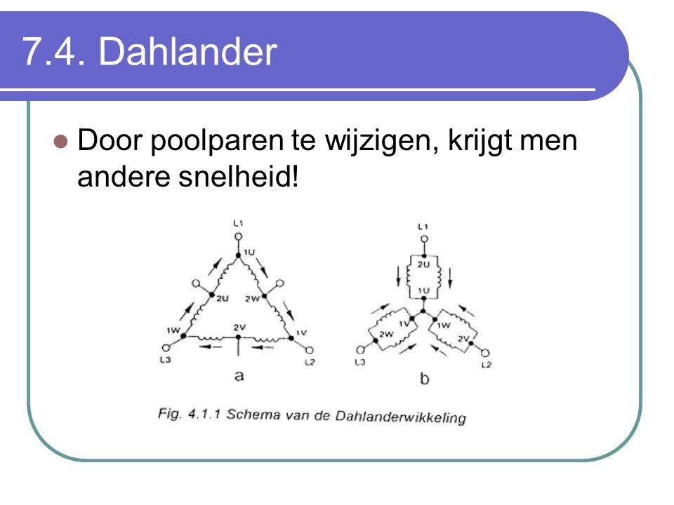 7.4. Dahlander  Door poolparen te wijzigen, krijgt men andere snelheid!