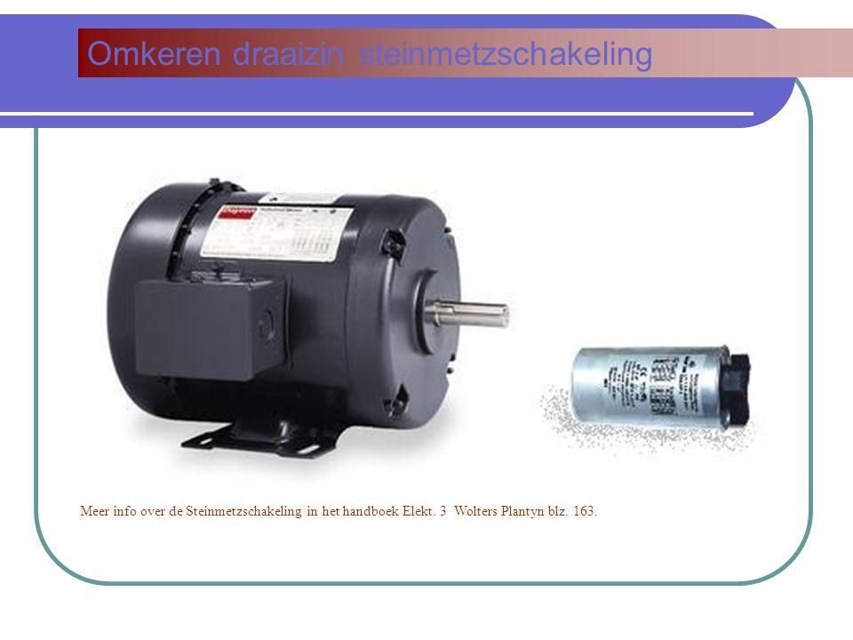 Omkeren draaizin steinmetzschakeling Meer info over de Steinmetzschakeling in het handboek Elekt. 3 Wolters Plantyn blz. 163.