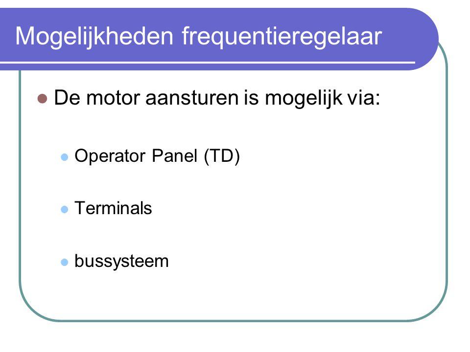 Mogelijkheden frequentieregelaar  De motor aansturen is mogelijk via:  Operator Panel (TD)  Terminals  bussysteem
