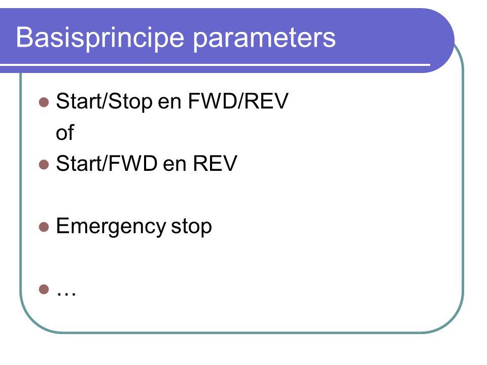 Basisprincipe parameters  Start/Stop en FWD/REV of  Start/FWD en REV  Emergency stop  …