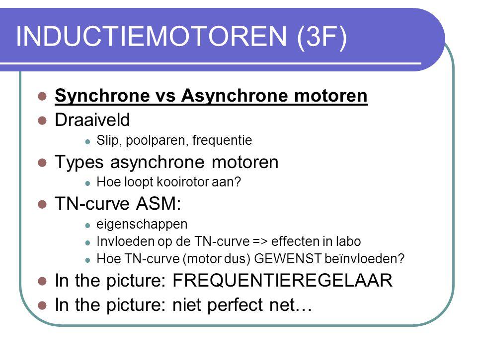 Driefasig Asynchrone Motor  Bouw  Principes  Types  Karakteristieken:  Koppel-toerentalcurve  Stroom-toerentalcurve  Slip  Aanzetten  Remmen  Snelheid regelen
