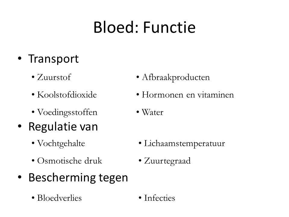 Bloed: Functie • Transport • Regulatie van • Bescherming tegen • Zuurstof • Koolstofdioxide • Voedingsstoffen • Afbraakproducten • Hormonen en vitaminen • Water • Vochtgehalte • Osmotische druk • Lichaamstemperatuur • Zuurtegraad • Bloedverlies• Infecties