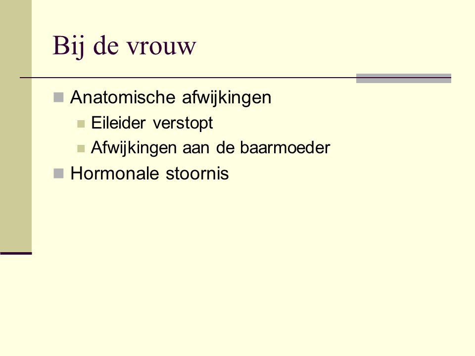 Bij de vrouw  Anatomische afwijkingen  Eileider verstopt  Afwijkingen aan de baarmoeder  Hormonale stoornis