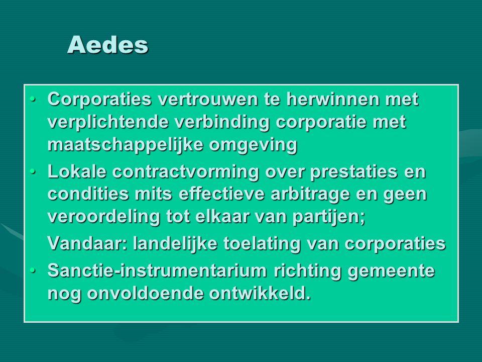 Aedes •Corporaties vertrouwen te herwinnen met verplichtende verbinding corporatie met maatschappelijke omgeving •Lokale contractvorming over prestati