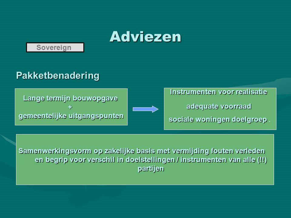 Adviezen Sovereign Pakketbenadering Pakketbenadering Lange termijn bouwopgave + gemeentelijke uitgangspunten Instrumenten voor realisatie adequate voo