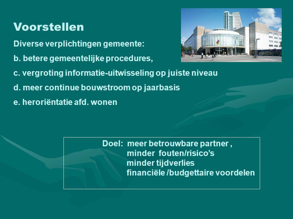 Voorstellen Diverse verplichtingen gemeente: b. betere gemeentelijke procedures, c. vergroting informatie-uitwisseling op juiste niveau d. meer contin