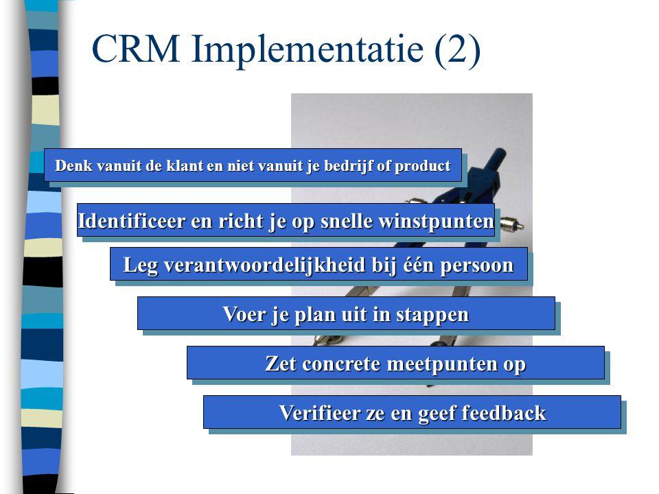 CRM Implementatie Bepaal je visie omtrent geïntegreerde CRM Begrijp je klant Begrijp je klant Ontwikkel een specifiek project Evalueer je staat van paraatheid Evalueer je staat van paraatheid Bepaal je CRM strategie en doelstellingen Focus op het vergemakkelijken van zaken doen