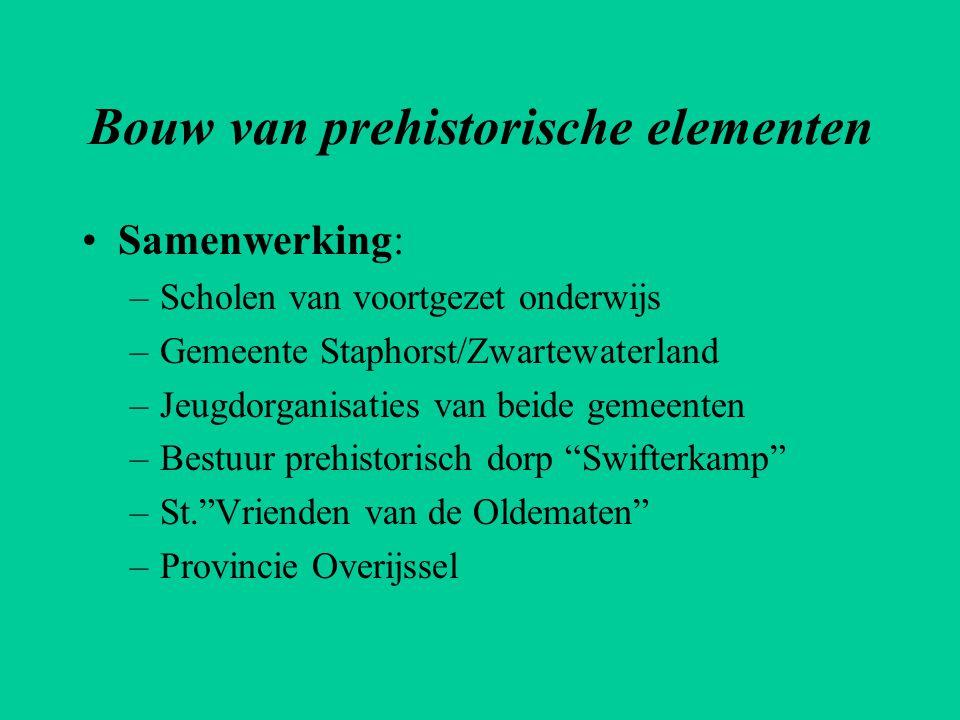 Bouw van prehistorische elementen •Samenwerking: –Scholen van voortgezet onderwijs –Gemeente Staphorst/Zwartewaterland –Jeugdorganisaties van beide ge