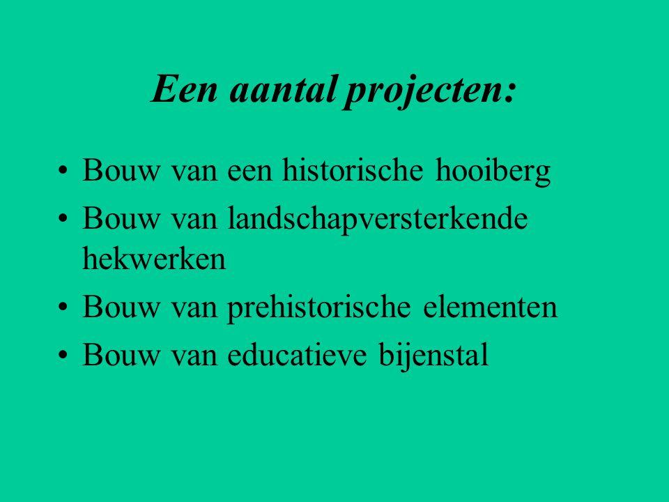 Een aantal projecten: •Bouw van een historische hooiberg •Bouw van landschapversterkende hekwerken •Bouw van prehistorische elementen •Bouw van educat