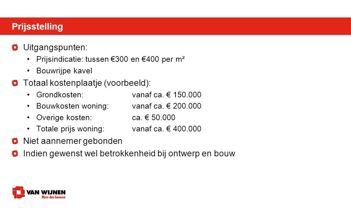 Uitgangspunten: •Prijsindicatie: tussen €300 en €400 per m² •Bouwrijpe kavel Totaal kostenplaatje (voorbeeld): •Grondkosten: vanaf ca. € 150.000 •Bouw