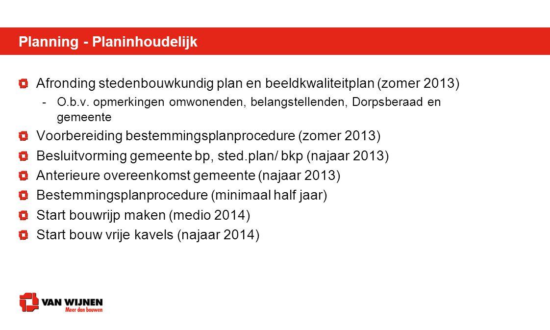 Planning - Planinhoudelijk Afronding stedenbouwkundig plan en beeldkwaliteitplan (zomer 2013) -O.b.v. opmerkingen omwonenden, belangstellenden, Dorpsb