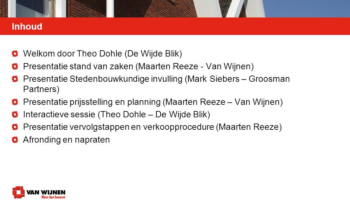 Inhoud Welkom door Theo Dohle (De Wijde Blik) Presentatie stand van zaken (Maarten Reeze - Van Wijnen) Presentatie Stedenbouwkundige invulling (Mark S