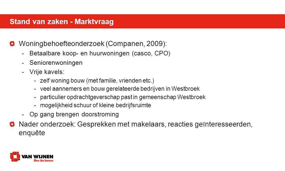 Stand van zaken - Marktvraag Woningbehoefteonderzoek (Companen, 2009): -Betaalbare koop- en huurwoningen (casco, CPO) -Seniorenwoningen -Vrije kavels: