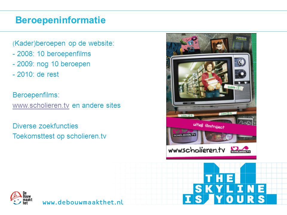 Beroepeninformatie ( Kader)beroepen op de website: - 2008: 10 beroepenfilms - 2009: nog 10 beroepen - 2010: de rest Beroepenfilms: www.scholieren.tvww