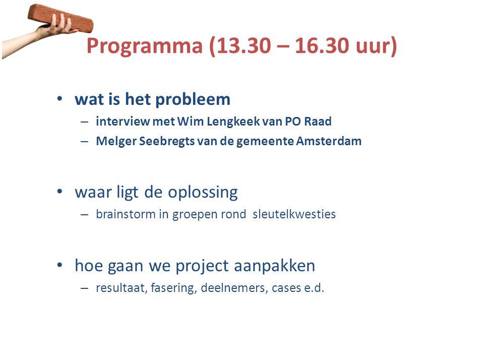Programma (13.30 – 16.30 uur) • wat is het probleem – interview met Wim Lengkeek van PO Raad – Melger Seebregts van de gemeente Amsterdam • waar ligt