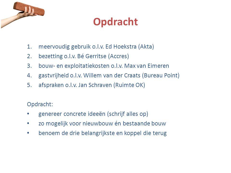 Opdracht 1.meervoudig gebruik o.l.v. Ed Hoekstra (Akta) 2.bezetting o.l.v. Bé Gerritse (Accres) 3.bouw- en exploitatiekosten o.l.v. Max van Eimeren 4.