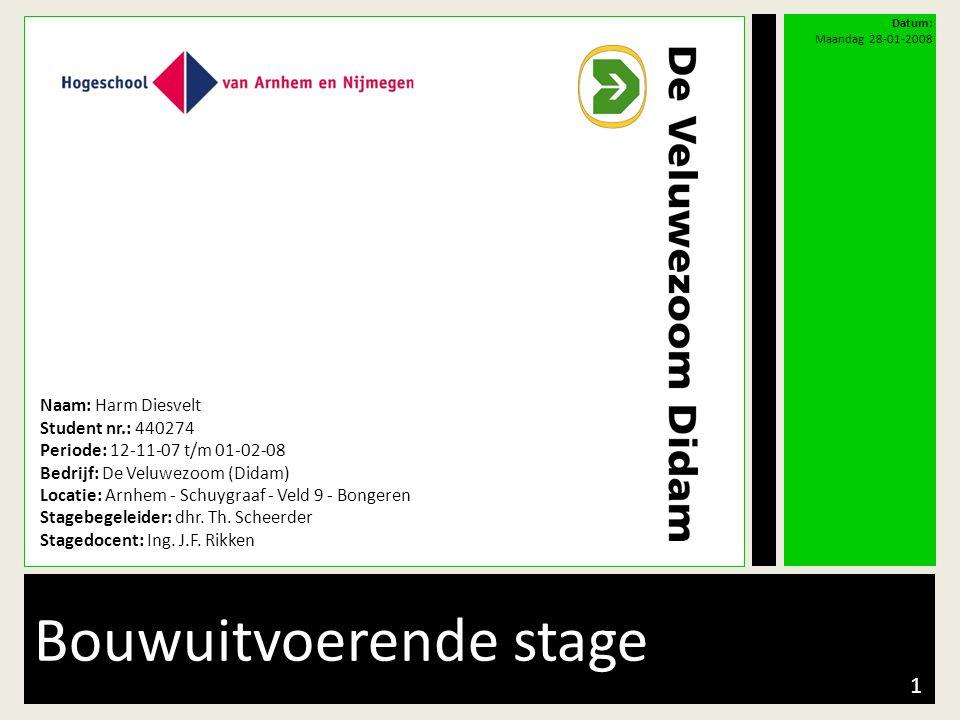 Bouwuitvoerende stage Naam: Harm Diesvelt Student nr.: 440274 Periode: 12-11-07 t/m 01-02-08 Bedrijf: De Veluwezoom (Didam) Locatie: Arnhem - Schuygra