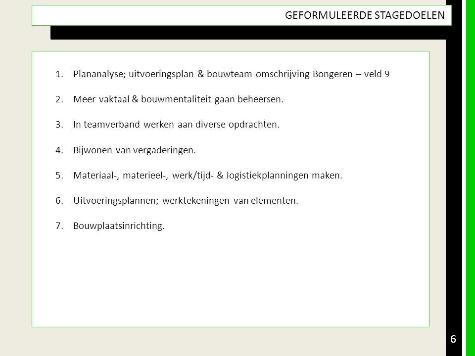 6 GEFORMULEERDE STAGEDOELEN 1.Plananalyse; uitvoeringsplan & bouwteam omschrijving Bongeren – veld 9 2.Meer vaktaal & bouwmentaliteit gaan beheersen.