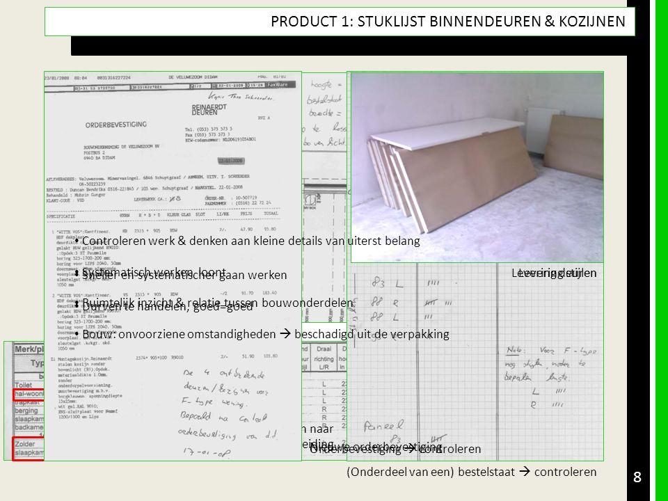 • Opdracht • Product & Doel • Aanpak met (tussen)producten • Resultaatsbeschrijving & Reflectie • Leerdoelen 8 PRODUCT 1: STUKLIJST BINNENDEUREN & KOZ